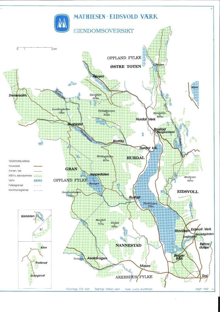 kart over hurdal Mathiesen Eidsvold Værk | Skog kart over hurdal